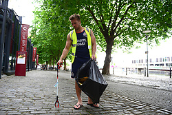 Nick Fenton-Wells of Bristol Rugby supports Bristol City Council's Clean Streets campaign on Mandela Day by helping cleaning the streets at Millennium Square - Mandatory by-line: Dougie Allward/JMP - 18/07/2017 - FOOTBALL - Millennium Square - Bristol, England - Mandella Day Bristol Rugby