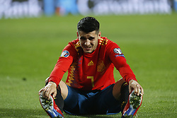 March 23, 2019 - Valencia, Community of Valencia, Spain - Spain's Alvaro Morata seen injured during the Qualifiers - Group B to Euro 2020 football match between Spain and Norway in Valencia, Spain. Spain beat Norway, 2-1 (Credit Image: © Manu Reino/SOPA Images via ZUMA Wire)