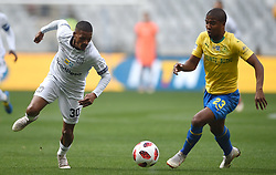 Cape Town-180825- Cape Town City player Craig Martin  challenged by  Mamelodi Sundowns defender Lyle Lakay in the MTN 8 semi-final at Cape Town Stadum.Photographer :Phando Jikelo/African News Agency/ANA