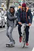Mar 31, 2016 - New York, NY, USA - Jacob Latimore and Will Smith filming the movie 'Collateral Beauty' on location in Manhattan <br />