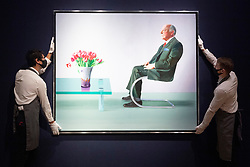 © Licensed to London News Pictures. 09/10/2020. London, UK. A portrait painting of Sir David Webster (1971) by artist  David Hockney with an estimate OF £11,000,000-18,000,000. The painting is owned by the Royal Operas House and the proceeds will find then ROH during the Covid-19 pandemic. Photo credit: Ray Tang/LNP