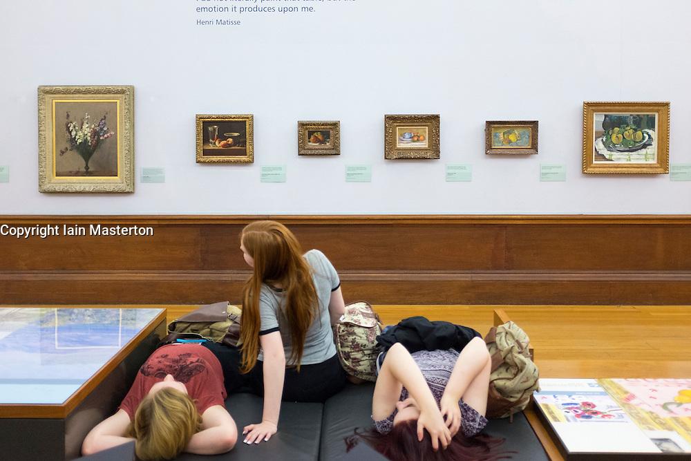Paintings on display at Kelvingrove Art Gallery and Museum in Glasgow United Kingdom