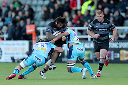 Newcastle Falcons Logovi'i Mulipola powers into Exeter Chiefs Wilhelm Van Der Sluys and Sean Lonsdale during the Premiership Rugby Cup match at Kingston Park, Newcastle. PRESS ASSOCIATION Photo. Picture date: Sunday October 28, 2018. See PA story RUGBYU Newcastle. Photo credit should read: Richard Sellers/PA Wire. RESTRICTIONS: Editorial use only. No commercial use.