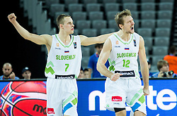Klemen Prepelic of Slovenia and Zoran Dragic of Slovenia reacts during basketball match between Slovenia vs Netherlands at Day 4 in Group C of FIBA Europe Eurobasket 2015, on September 8, 2015, in Arena Zagreb, Croatia. Photo by Vid Ponikvar / Sportida