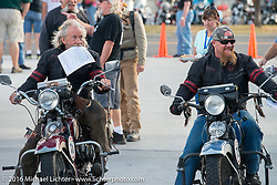 "Father and Son - Dan Kraft on his 1934 Harley-Davidson VL pulls into the finish beside his son Robb Kraft on his 1936 Harley-Davidson VLH 80"" after Stage 14 - (284 miles) of the Motorcycle Cannonball Cross-Country Endurance Run, which on this day ran from Meridian to Lewiston, Idaho, USA. Friday, September 19, 2014.  Photography ©2014 Michael Lichter."