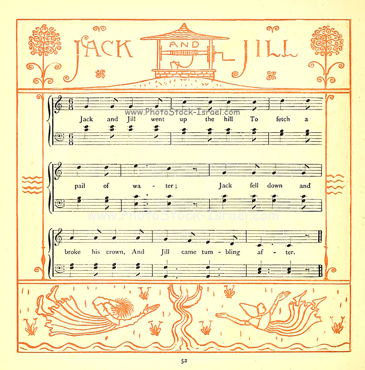Jack and Jill / Went up the hill / To fetch a pail of water / Jack fell down and broke his crown / And Gill [Jill] came tumbling after. // Up Jack got / And home did trot, / As fast as he could caper; / Went to bed / To mend his head / With vinegar and brown paper. // Jill came in / And she did grin /To see his paper plaster; / Mother, vex'd, / Did whip her next / For causing Jack's disaster. From the Book '  The baby's opera : a book of old rhymes, with new dresses by Walter Crane, and Edmund Evans Publishes in London and New York by F. Warne and co. in 1900