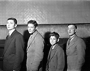 14/01/1953<br /> 01/14/1953<br /> 14 January 1953<br /> Corinthians Boxing Club, Dublin. Picture shows(l-r): Tony Reddy; Willie Desmond; Tommy Connor and Danny Potter.