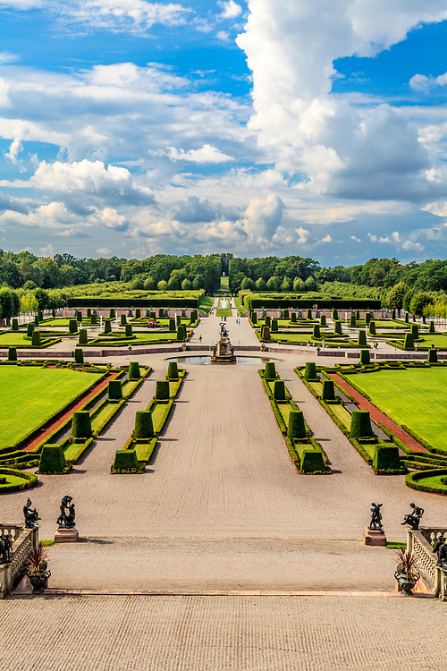 The baroque garden of Drottningholm Palace in Sweden. While being the private permanent residence of the Swedish royal family, The Drottningholm Palace is partly open to visitors.