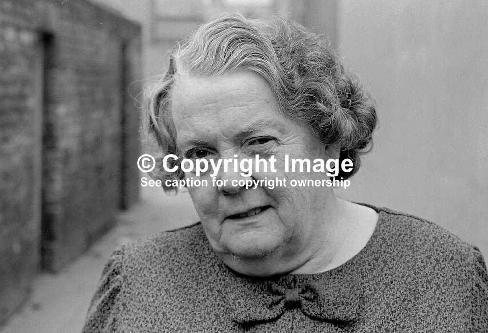 Maureen Smyth, candidate, West Belfast, Alliance Party of N Ireland, N Ireland Assembly Election, June 1973. 197306000315a<br /> <br /> Copyright Image from Victor Patterson, Belfast, UK<br /> <br /> t: +44 28 9066 1296 (from Rep of Ireland 048 9066 1296)<br /> m: +44 7802 353836<br /> e: victorpattersonbelfast@gmail.com<br /> <br /> www.images4media.com<br /> <br /> Please see my full Terms and Conditions of Use at https://www.images4media.com/p/terms-conditions - it is IMPORTANT that you familiarise yourself with them.<br /> <br /> Images used online incur an additional cost. This cost should be agreed in writing in advance. Online images must be visibly watermarked i.e. © Victor Patterson or that of the named photographer within the body of the image. The original metadata must not be deleted from images used online.<br /> <br /> This image is only available for the use of the download recipient i.e. television station, newspaper, magazine, book publisher, etc, and must not be passed on to a third party. It is also downloaded on condition that each and every usage is notified within 7 days to victorpattersonbelfast@gmail.com.<br /> <br /> The right of Victor Patterson (or the named photographer) to be identified as the author is asserted in accordance with The Copyright Designs And Patents Act (1988). All moral rights are asserted.