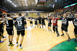 Players of Gorenje celebrate after winning in last second during handball match between RK Celje Pivovarna Lasko and RK Gorenje Velenje in 5th Round of 1. NLB Leasing Handball League 2012/13 on October 3, 2012 in Arena Zlatorog, Celje, Slovenia. Gorenje defeated Celje 25-24. (Photo By Vid Ponikvar / Sportida)