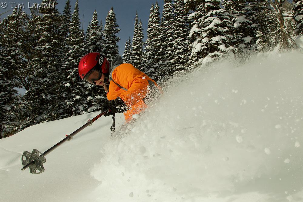 Russell Laman (age 12) skiing fresh powder at Jackson Hole, Wyoming
