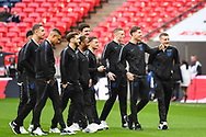 The England team come out on the pitch ahead of the Friendly match between England and Italy at Wembley Stadium, London, England on 27 March 2018. Picture by Stephen Wright.