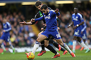 Eden Hazard of Chelsea is intercepted by Philipp Wollscheid of Stoke City. Barclays Premier league match, Chelsea v Stoke city at Stamford Bridge in London on Saturday 5th March 2016.<br /> pic by John Patrick Fletcher, Andrew Orchard sports photography.