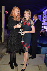 Left to right, KATY BRAIN and the COUNTESS OF WOOLTON at an evenig of Jewellery & Photography to launch the Buccellati 'Opera Collection' held at Spencer House, London on 21st October 2015.