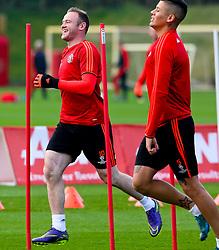 Wayne Rooney of Manchester United enjoying the warm up - Mandatory byline: Matt McNulty/JMP - 07966386802 - 20/10/2015 - FOOTBALL - Aon Training Complex -Manchester,England - UEFA Champions League