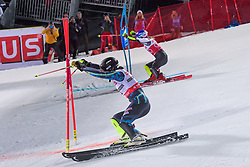 19.02.2019, Stockholm, SWE, FIS Weltcup Ski Alpin, Parallelslalom, Damen, im Bild v.l. Anna Swenn Larsson (SWE), Mikaela Shiffrin (USA) // f.l. Anna Swenn Larsson of Sweden Mikaela Shiffrin of the USA in action during the ladie's parallel slalom of FIS ski alpine world cup at the Stockholm, Sweden on 2019/02/19. EXPA Pictures © 2019, PhotoCredit: EXPA/ Nisse Schmidt<br /> <br /> *****ATTENTION - OUT of SWE*****