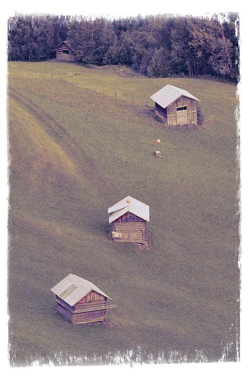 IFTE-NB-007859; Niall Benvie; Hay barns in the Tirol; Austria; Europe; Kaunerberg; building agricultural; vertical; old fashioned rustic; green; farmland meadow grassland upland; 2008; July; summer; farming; Wild Wonders of Europe Naturpark Kaunergrat