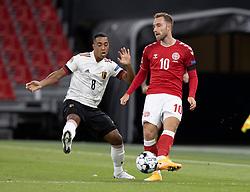 Christian Eriksen (Danmark) presses af Youri Tielemans (Belgien) under UEFA Nations League kampen mellem Danmark og Belgien den 5. september 2020 i Parken, København (Foto: Claus Birch).