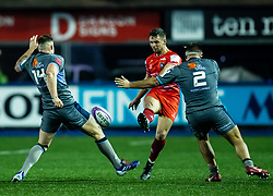 Joe Thomas of Leicester Tigers kicks ahead<br /> <br /> Photographer Simon King/Replay Images<br /> <br /> European Rugby Challenge Cup Round 2 - Cardiff Blues v Leicester Tigers - Saturday 23rd November 2019 - Cardiff Arms Park - Cardiff<br /> <br /> World Copyright © Replay Images . All rights reserved. info@replayimages.co.uk - http://replayimages.co.uk