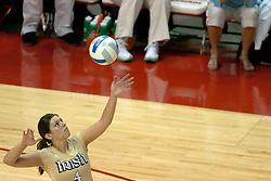 15 October 2005: Notre Dame Fighting Irish Meg Henican lifts the ball to serve. The Fighting Irish of Notre Dame knocked out the Illinois State Redbirds in 4 games.  The match was filled with several action packed vollies. A resonable fan base was on hand for this rare Monday evening competition at Redbird Arena on the campus of Illinois State University in Normal IL