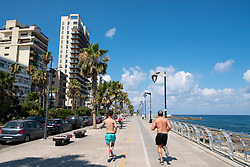 Joggers running on  the  Corniche in Beirut, Lebanon.