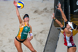 Sanne Keizer, Jorna Heidrich SUI in action during the third day of the beach volleyball event King of the Court at Jaarbeursplein on September 11, 2020 in Utrecht.