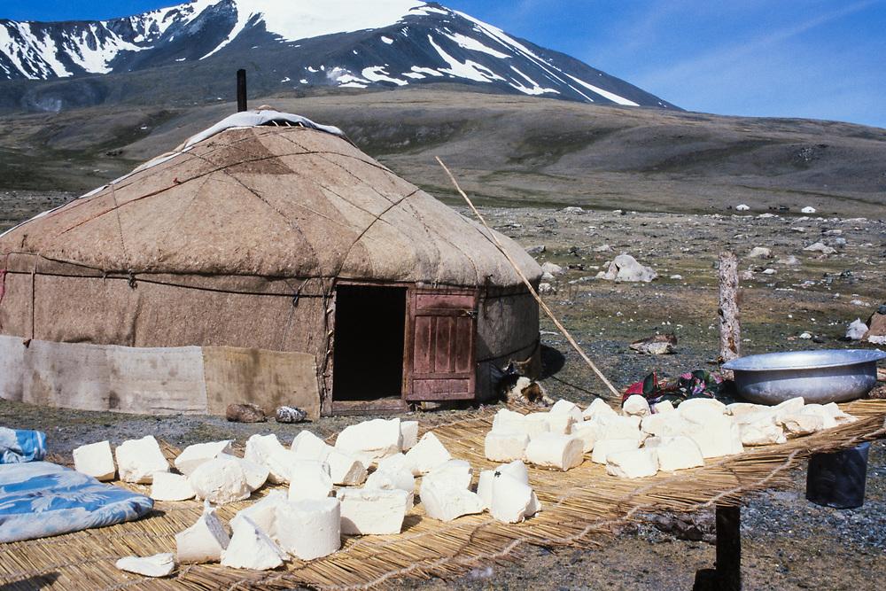 Kazakh ger & cheese drying<br /> Eagle hunters & Mongolia's largest ethnic minority<br /> near Tsengel Khairkhan Mountain<br /> Western Mongolia