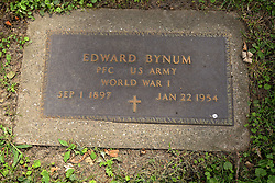 26 August 2017:   A part of the History of McLean County Illinois.<br /> <br /> Tombstones in Evergreen Memorial Cemetery.  Civic leaders, soldiers, and other prominent people are featured.<br /> <br /> Section 16 - Veterans Section<br /> Edward Bynum<br /> Private 1st Class US Army<br /> Sep 1, 1897<br /> Jan 22 1954