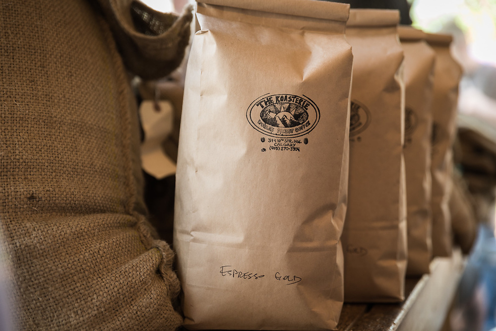 Coffee roasting and serving at The Roasterie, Calgary's original coffee roaster photographed by Brett Gilmour.