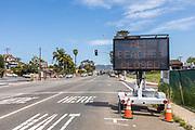 Corona Virus All Beaches Closed Street Sign on PCH Laguna Beach