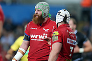 Jake Ball of the Scarlets. Guinness Pro14 rugby match, Ospreys v Scarlets at the Liberty Stadium in Swansea, South Wales on Saturday 7th October 2017.<br /> pic by Andrew Orchard, Andrew Orchard sports photography.