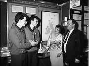08/01/1988.01/08/1988.8th January 1988 .The Aer Lingus Young Scientist of the Year Award at the RDS, Dublin ..Picture shows (L-R) the Taoiseach Charles Haughey, T.D., Kevin Mc Cauley, Fergal Mc Aleavey, both from Abbey Vocational School, Donegal Town whose project 'A Survey of the Western Stock of Scomber Scombrus' won the Best Group and Michael Hanley, President of the Teachers Union of Ireland.