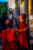 Novice monks outside the Botataung Pagoda, Rangoon (Yangon), Burma (Myanmar)