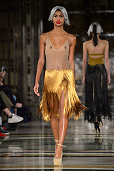 A model on the catwalk during the Mark Fast London Fashion Week SS18 show held at the Freemasons' Hall, London. Picture date: Friday September 15th, 2017. Photo credit should read: Matt Crossick/ EMPICS Entertainment.