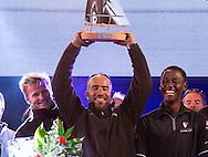 La Route des Princess. Plymouth. UK<br /> The Oman Air - Musandam MOD70 team celebrate after winning the Dublin - Plymouth offshore leg. Skipper Sidney Gavignet  (FRA) with team mates Thomas LeBreton (FRA), Fahad Al Hasni (OMA), Neal McDonald (GBR),Damian Foxall (IRL), Philip Rivett (AUS), Ahmed Al Hassani (OMA) and Giles Favennec (FRA)<br /> Credit: Lloyd Images