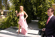 Anouska de Giorgiou in a Laurent-Perrier dress designed by Scott Henshall in  the Laurent -Perrier gardenRoyal Horticultural Society's Chelsea Flower Show, Royal Hospital's grounds. Chelsea. 23 May 2005.  ONE TIME USE ONLY - DO NOT ARCHIVE  © Copyright Photograph by Dafydd Jones 66 Stockwell Park Rd. London SW9 0DA Tel 020 7733 0108 www.dafjones.com