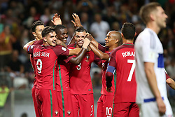 August 31, 2017 - Porto, Portugal - Portugal's midfielder William Carvalho (3rd L) celebrates with teammates after scoring during the 2018 FIFA World Cup qualifying football match between Portugal and Faroe Islands at the Bessa XXI stadium in Porto, Portugal on August 31, 2017. (Credit Image: © Pedro Fiuza/NurPhoto via ZUMA Press)