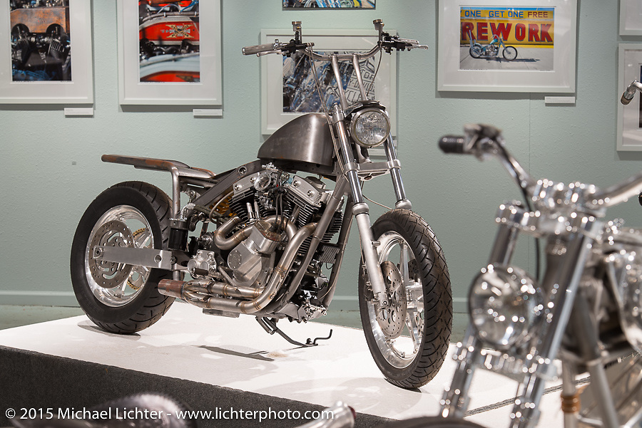 """Lock Baker's HD twin cam custom in Michael Lichter's annual Motorcycles as Art Show """"Naked Truth"""" at the Buffalo Chip during the 75th Annual Sturgis Black Hills Motorcycle Rally.  SD, USA.  August 6, 2015.  Photography ©2015 Michael Lichter."""