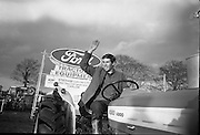 National Ploughing Championships at Tullow, Co. Carlow. Winner Richard Miller waves after winning the Colleges Championships.26.10.1967