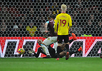 Football - 2017 / 2018 Premier League - Watford vs. West Ham United<br /> <br /> Heurelho Gomes of Watford saves from the feet of Marko Arnautovic, at The London Stadium.<br /> <br /> COLORSPORT/ANDREW COWIE
