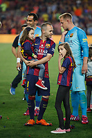 Barcelona´s Andres Iniesta celebrate after winning the 2014-15 Copa del Rey final match against Athletic de Bilbao at Camp Nou stadium in Barcelona, Spain. May 30, 2015. (ALTERPHOTOS/Victor Blanco)