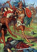 Aztec warriors attack the fleeing Spaniards.