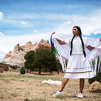 Geronimo Louie from Gallup, NM poses for a portrait at Window Rock Veteran's Memorial Park, Saturday June 29  during DinéPride 2019.