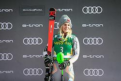 Nina Haver Loeseth (NOR) celebrating after the Ladies' Slalom at 56th Golden Fox event at Audi FIS Ski World Cup 2019/20, on February 16, 2020 in Podkoren, Kranjska Gora, Slovenia. Photo by Matic Ritonja / Sportida