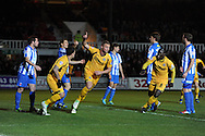 Newport's Harry Worley © celebrates after he scores his sides 1st goal. Skybet football league two match, Newport county v Hartlepool Utd at Rodney Parade in Newport , South Wales on Friday 15th November 2013. pic by Andrew Orchard, Andrew Orchard sports photography,