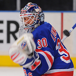 May 23, 2012: New York Rangers goalie Henrik Lundqvist (30) misses a puck over his glove during warmups for game 5 of the NHL Eastern Conference Finals between the New Jersey Devils and New York Rangers at Madison Square Garden in New York, N.Y.
