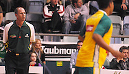 Australia coach Brian Goorjian walks the side line during.Ramsay Shield, Australia Post Boomers v New Zealand, Game 2, 2008.  Played at the State Netball & Hockey Centre. Australian Post Boomers defeated New Zealand. .Photo: Joel Strickland / SMP Images.Use information: This image is intended for Editorial use only (e.g. news or commentary, print or electronic). Any commercial or promotional use requires additional clearance.