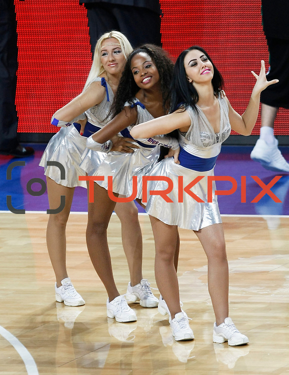Efes Pilsen's show girls during their Turkish Basketball league match Efes Pilsen between Bornova Belediyespor at the Sinan Erdem Arena in Istanbul Turkey on Saturday 16 April 2011. Photo by TURKPIX