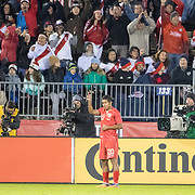EAST HARTFORD, CONNECTICUT- October 16th:  Edison Flores #20 of Peru celebrates after scoring his sides late equalizer to the delight of the Peruvian fans during the United States Vs Peru International Friendly soccer match at Pratt & Whitney Stadium, Rentschler Field on October 16th 2018 in East Hartford, Connecticut. (Photo by Tim Clayton/Corbis via Getty Images)