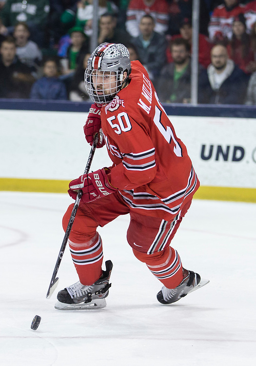 March 17, 2018:  Ohio State defenseman Matt Miller (50) skates with the puck during NCAA Hockey game action between the Notre Dame Fighting Irish and the Ohio State Buckeyes at Compton Family Ice Arena in South Bend, Indiana.  Notre Dame defeated Ohio State 3-2 in overtime.  John Mersits/CSM